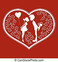 Silhouette of heart with a couple inside