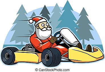 Run Fast Go Karting Santa - Vector illustration of Santa...