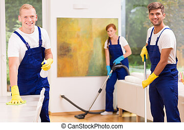 Cleaners cleaning modern apartment - Group of professional...
