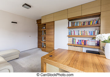 Living room with bookcase - Modern and cozy living room with...