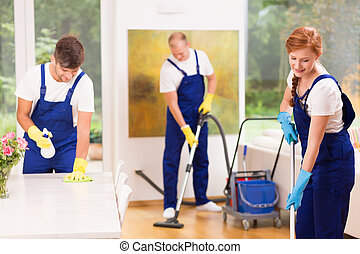 Men and woman cleaning apartment - Men and woman wearing...