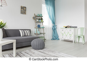 Living room in gray and pastel colors - Living room in...