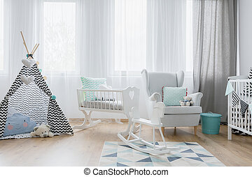 Friendly baby room decor in white and blue - Very bright...