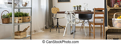 Functional dining room decor with wooden furniture