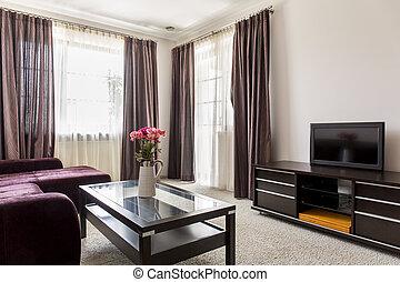 Modern living room - Modern brown living room in luxury...