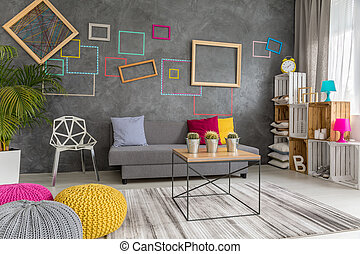 Grey, yellow and pink living room - Modern living room...