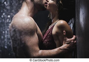 Chuveiro, beijando, par