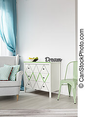 Bright living room with white chest of drawers - View of...