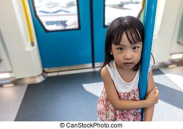 Asian Chinese little girl standing inside a MRT transit in...