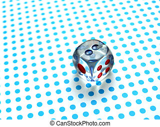 gamblig dice on blue dotted background
