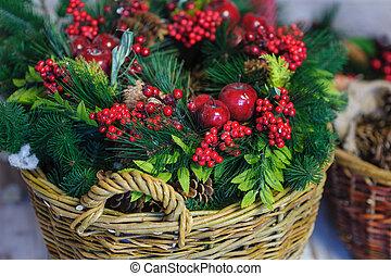 abeto, decoración, ramas, manzanas, cesta, navidad