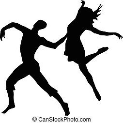 couple modern dancing - Black vector silhouette of a couple...