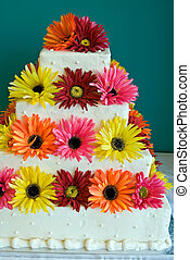 Silk Daisy Cake - Silk daisies on a tiered cake.