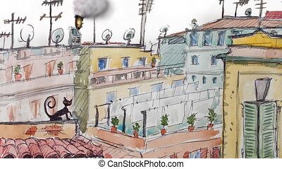roofs of Rome cartoon animation