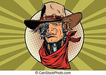 wild West bandit robot steampunk, pop art retro vector...