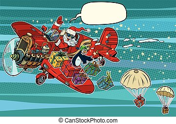 Santa Claus on vintage planes dropped Christmas gifts, pop...
