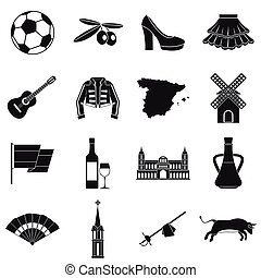 Spain travel icons set, simple style
