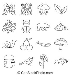 Nature items icons set, outline style
