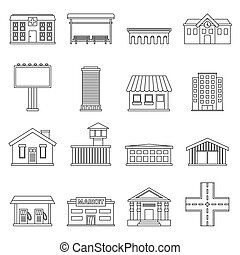 City infrastructure items icons set, outline style - City...