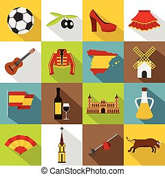 Spain travel icons set, flat style