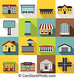 City infrastructure items icons set, flat style - City...