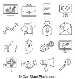 Marketing items icons set, outline style