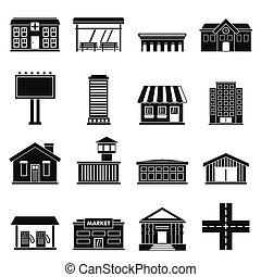 City infrastructure items icons set, simple style - City...