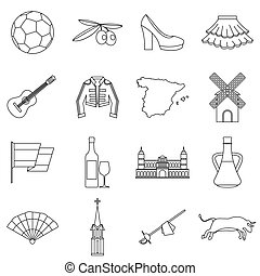 Spain travel icons set, outline style