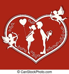 Heart with a romantic couple and Cupid