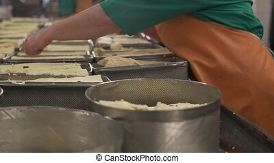Finished dairy product at production line - Finished fresh...