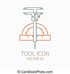 Line working color scale with caliper for construction, building and home repair icon. Vector illustration. Element for design. Hand work tool. Industrial cartoon style. Pictogram. Service. Equipment.