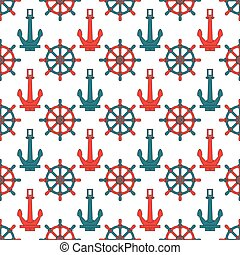 Abstract seamless background pattern with anchors and steering wheel. Vector illustration. Stylish graphic texture for design, wallpaper. Nautical seamless sea pattern. Cute marine background.