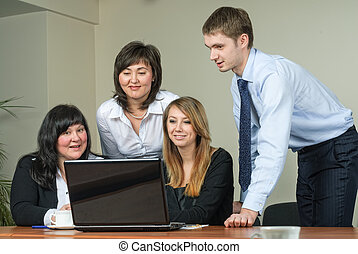 Business brainstorming - Business people arranged...