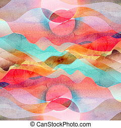 Watercolor abstract bright background with different...