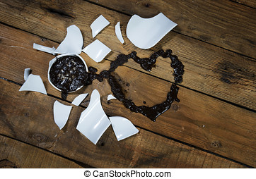 Heart Valentine coffee broken cup. - Guessing at love by...