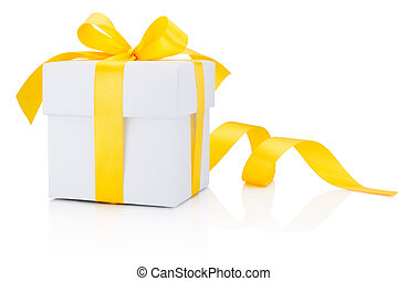 White gift box tied yellow ribbon bow Isolated on white...