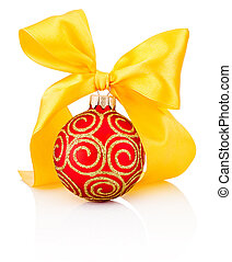 Red Christmas decoration bauble with yellow ribbon bow isolated on white background