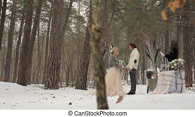 Wedding Engagement Ceremony in Winter Forest - Wedding...