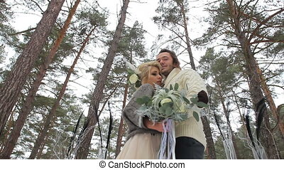 Wedding Engagement Ceremony in Winter Forest