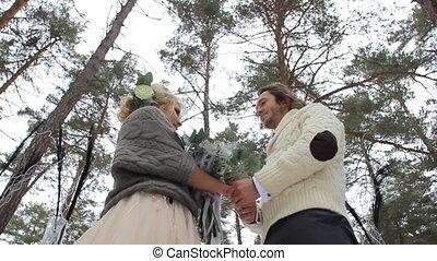 Wedding Engagement Ceremony in Winter Forest - Wedding...