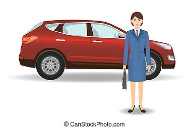Businesswoman on a luxury crossover car background. Office woman employee with auto on a white background.