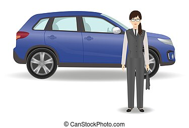 Businesswoman on a luxury car background. Office woman employee with auto on a white background.