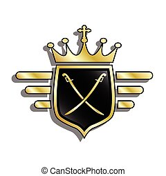 Shield with crown - An illustration of a shield with a crown...