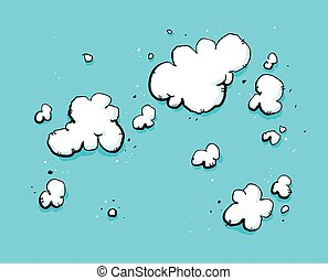 Cloudy Sky - Cartoon backdrop of a bright, blue sky with...