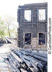 Burned building in Vologda.