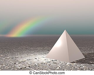 Abstract - Pyramid with rainbow (CGI)