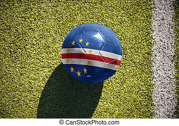 football ball with the national flag of cape verde lies on...