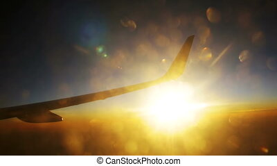 Passenger Plane in Flight Against a Background of Sunset -...