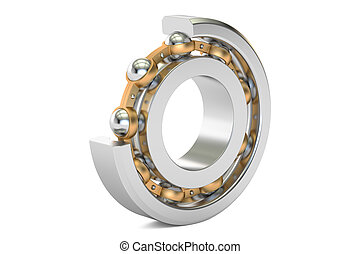 Ball bearing, cutaway. 3D rendering isolated on white...