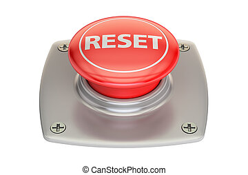 reset red button, 3D rendering